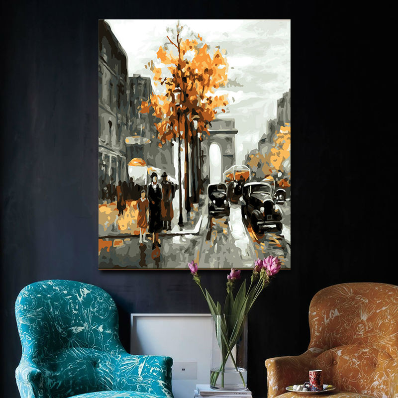 Diy oil painting paris street digital paint by numbers for Digitally paint your house