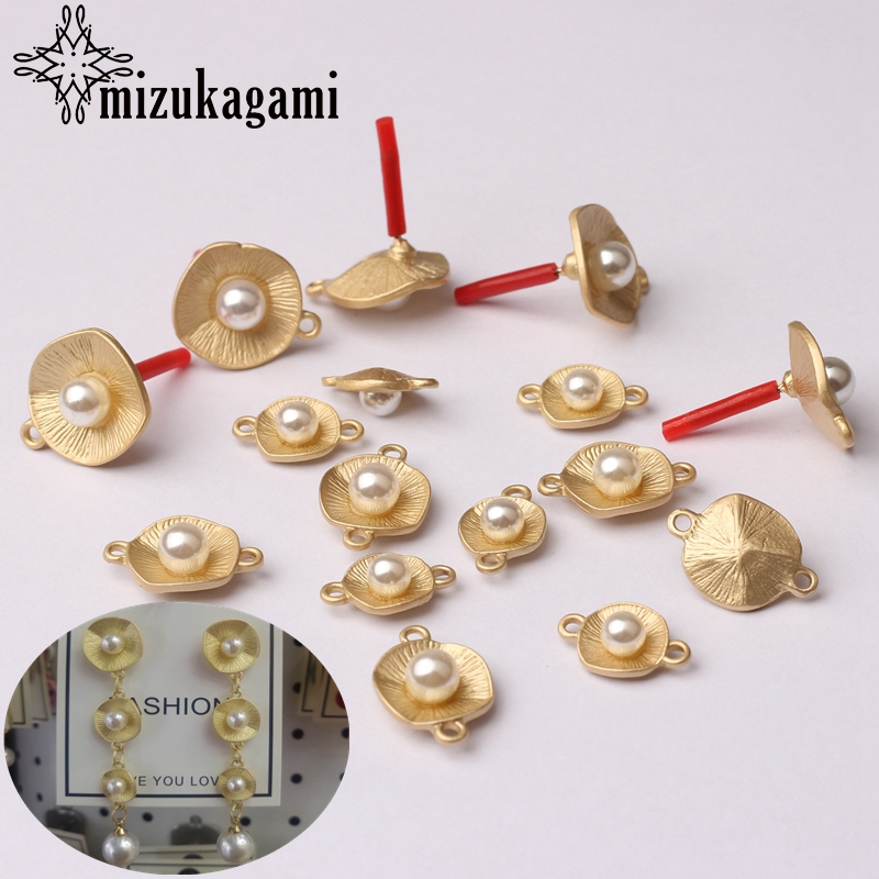 Golden Metal Imitation Pearls Lotus Leaf Round Base Earrings Connector 15mm 6pcs/lot For DIY Earrings Making Jewelry Accessories