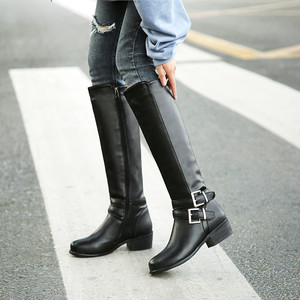 Image 4 - MORAZORA 2020 new fashion shoes woman round toe zipper autumn winter boots square heels solid colors knee high boots women