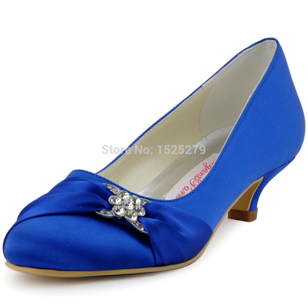 Ep2006l women blue bridal party low heel pumps almond toe for Low heel dress shoes wedding