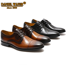 Italian Luxury Leather Shoes Men New Style Cap Toe Lace up Derby Brown Black Wedding Business Casual Shoes Men Oxfords Men Shoes 2017 new brand spring autumn black brown genuine leather men s crocodile lace up pointed toe flat business casual wedding shoes