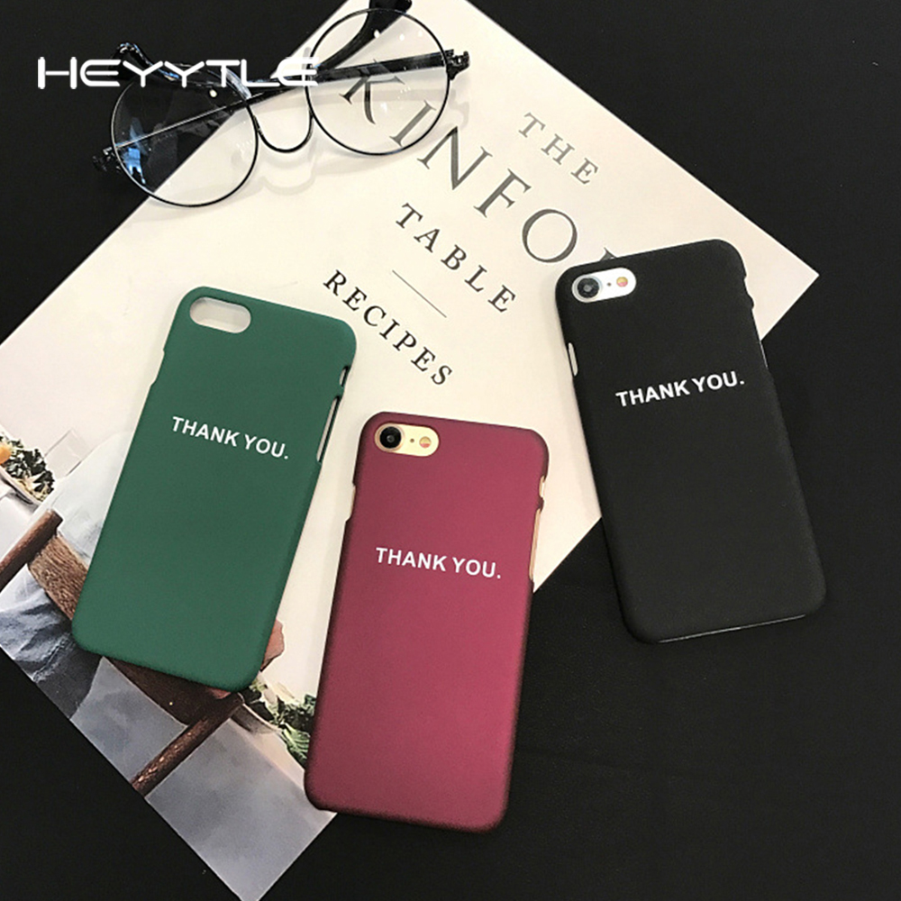 Heyytle Thank You Phone Case For Apple iPhone 8 7 6S 6 Plus Simple Word Slim Frosted Coque Back Hard PC Cover Cases