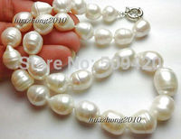 Free Shipping11 14mm The White Tahitian Cultured Pearl Necklace 18