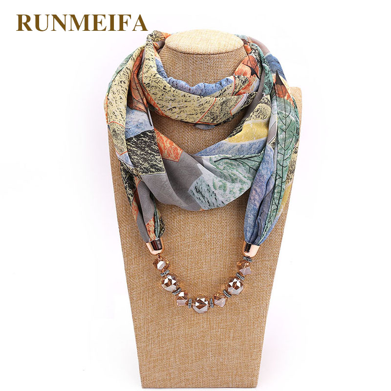 RUNMEIFA Pendant Necklace Scarf For Women Print Chiffon & Champagne Pendants Scarf Femme Accessories Scarf Free Drop Shipping