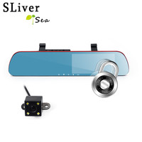 SLIVERYSEA New 5 Inch IPS Display HD 1080P Car DVR Rearview Mirror Recorder Dual Lens Night