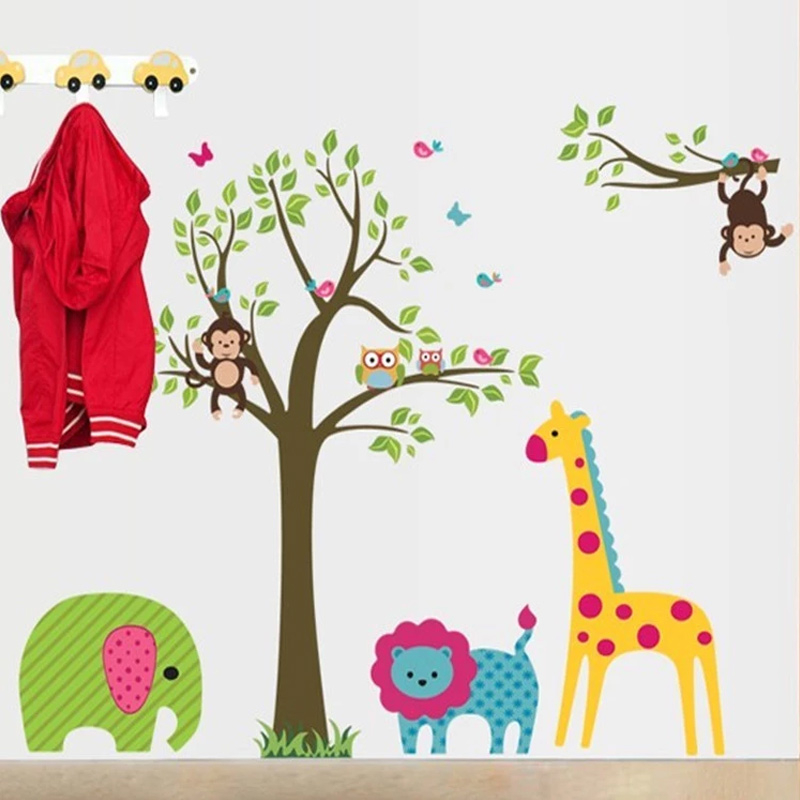 US $4.27 9% OFF|Waldtiere Giraffe elefant baum wandaufkleber für  kinderzimmer affe Wandtattoo Kinderzimmer Dekor Wandbild Poster-in  Wandaufkleber aus ...