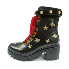 Golden Bee Print Pearl Winter Boots Women's Lace Ankle Boots