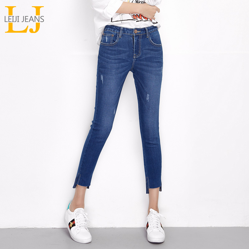 LEIJIJEANS 2018 New Arrival Spring Plus Size Ripped Bleached Irregular Cuff Mid Waist An ...
