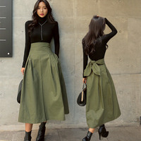 Military Solid A Line Women Winter Knee Length Cotton Skirt 2019 Fashion Mid Calf With Bow Empire Waist Female Elegant Skirts