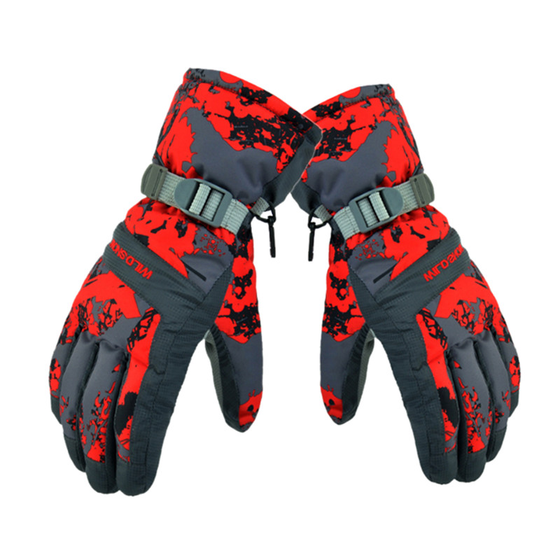 New Winter Waterproof Ski Gloves Women Men Skiing Gloves Windproof Breathable Camouflage Color L XL