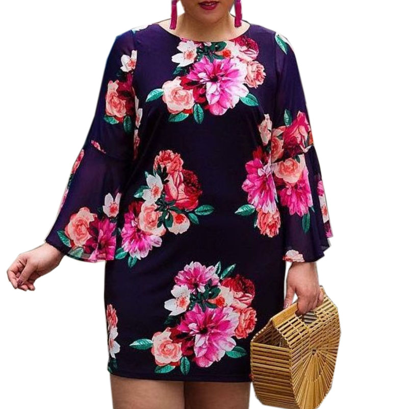 5XL <font><b>6XL</b></font> <font><b>Plus</b></font> <font><b>Size</b></font> Dresses Casual O Neck Long Sleeve Flowers Print Sundress Spring Autumn 2019 Women's Fashion Chiffon Dress Hot image