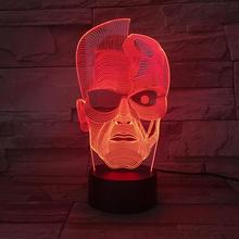 Usb 3d Led Night Light Dc Justice League Two Face Figure Cartoon Boys Child Kids Birthday Gifts Table Lamp Bedside Two-Face