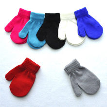 1 Pair Hot Children Toddler Red Mittens Gloves Boys Girls Solid Winter Warm Comfort Kids Gloves 7 Colors(China)