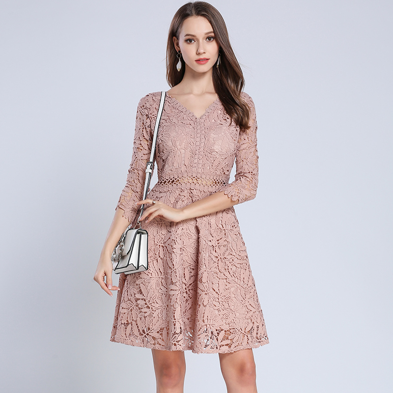 Detail Feedback Questions about Fall 2019 Fashion V Neck Lace Dress Women  Sexy autumn Korean Ladies Dresses on Aliexpress.com  57978d559f08