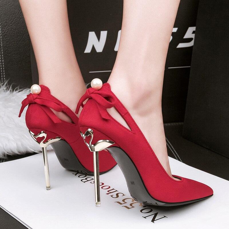 Black red 10cm Peu Parti 10cm Perle Stiletto Bowknot Pointu Pompes Chaussures Femme 10cm Dames Nouveau gray Hauts 10cm Profonde Femmes pink De Bout Mariage Talons Mariée Mode Sexy wgqFR1