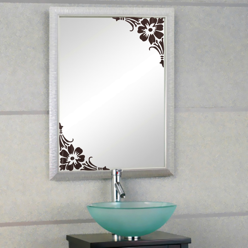 Lowest Price Removable Showcase Glass Window Bathroom Mirror Sticker Wall Two Corner Home Decal