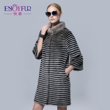 Women's fur coats real mink coat with rex rabbit fur jacket with coats of fur knitted wool lining mink fur coats for cold winter