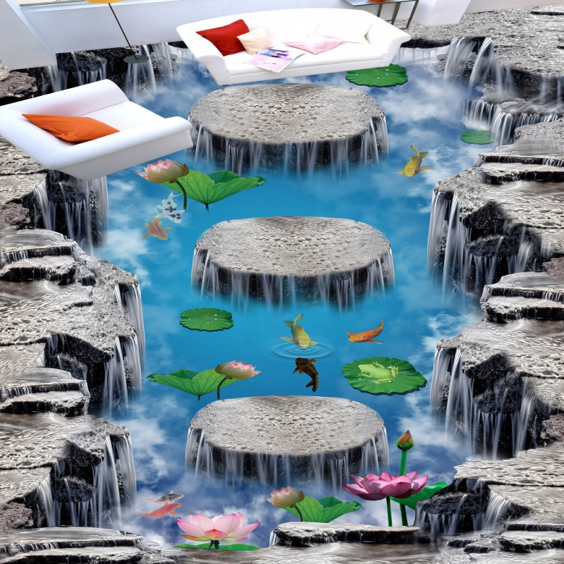 ФОТО Free shipping flooring custom living room self-adhesive photo wallpaper Wonderland lotus pool 3D floor thickened painting flower