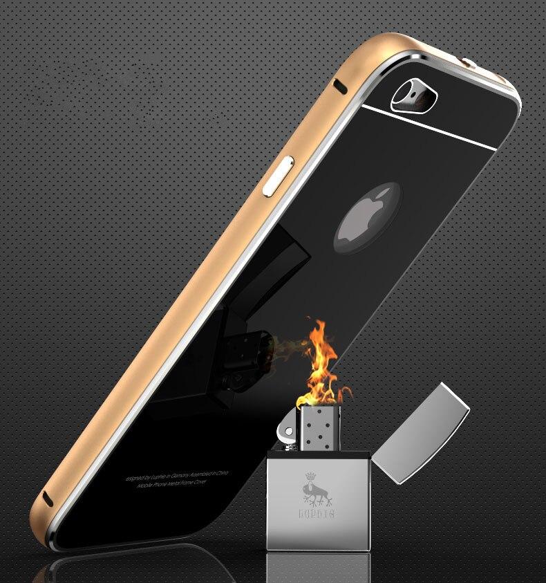 imágenes para Luphie de lujo a prueba de golpes delgado parachoques del metal de aluminio de cristal templado de nuevo case para apple iphone 6 6s plus 7 plus shell