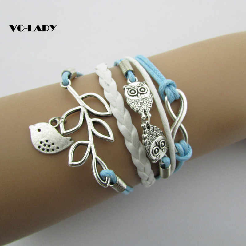 vintage fashion owl big 8 love double infinite multi-layer leather bracelet factory wholesale price Jewellery