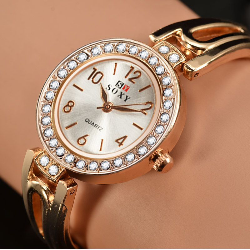 SOXY Top Brand Women Watches Rose Gold Quartz Rhinestone Wrist Watch Bracelet Watches Ladies Clock Relogio Feminine Reloj Mujer