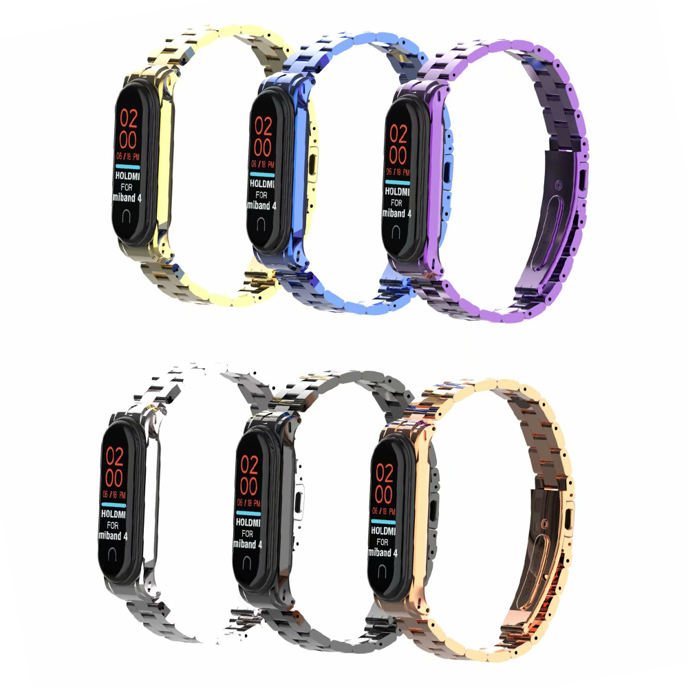 Lastest Stainless Steel Wrist Strap For Xiaomi Mi Band 3 4 Metal Watch Band Smart Bracelet Mi Band 4 Replaceable Watch Straps