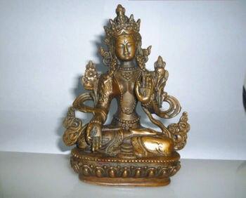 Elaborate Chinese Tibetan Buddhism Brass Kwan-yin White Tara Buddha Statue