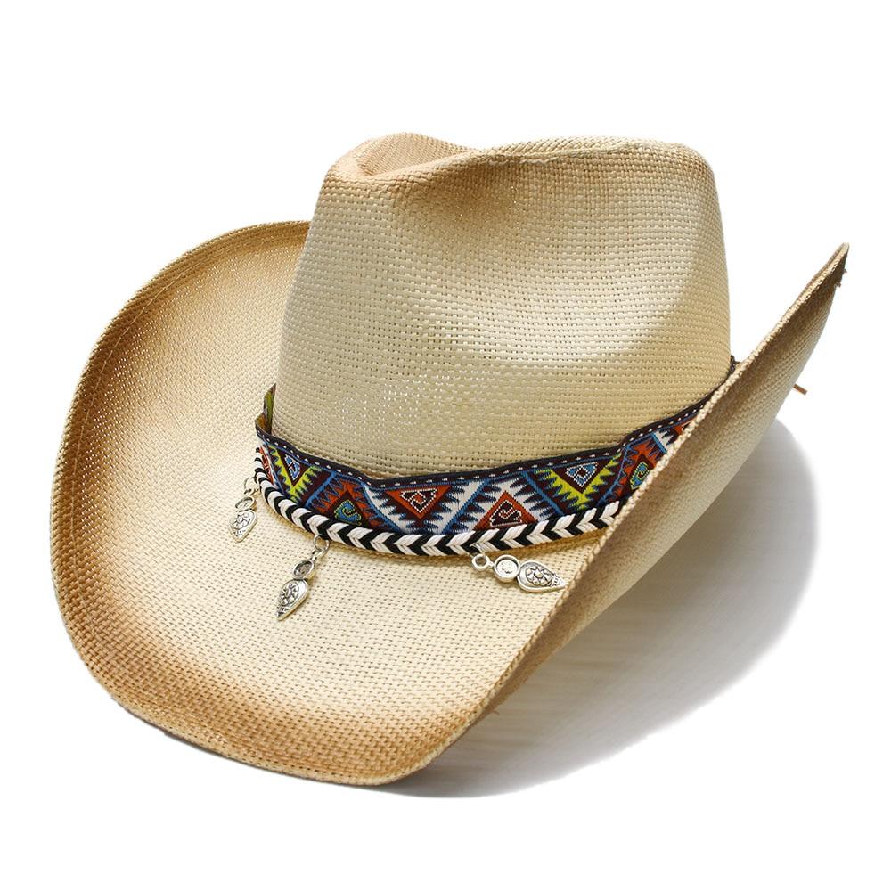 Summer Straw Beach Wide Brim Cowboy Hat  2