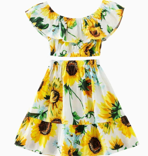 b2fc9053c6bd Detail Feedback Questions about Toddler Kids Baby Girls Sunflower Clothes  Set Summer Floral Off Shoulder Crop Tops Skirt Casual Outfits Girl Clothing  Cute 2 ...