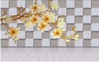 3D cubes embossed magnolia background wall