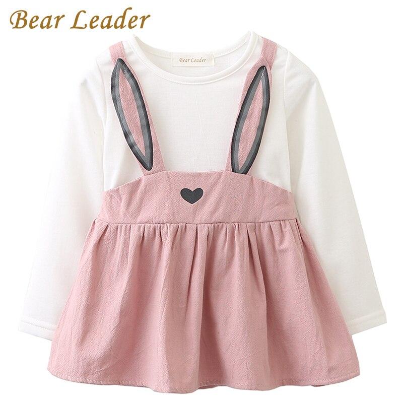 Bear Leader/платья для малышек 2018 Новинка весны одежда для маленьких девочек с милыми заячьими ушками печати Принцесса Одежда для новорожденных ... ...