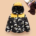 2016 Winter down jacket fashion girls boys cartoon goose cotton hooded coat children's jacket warm outwear removable hat 16A12