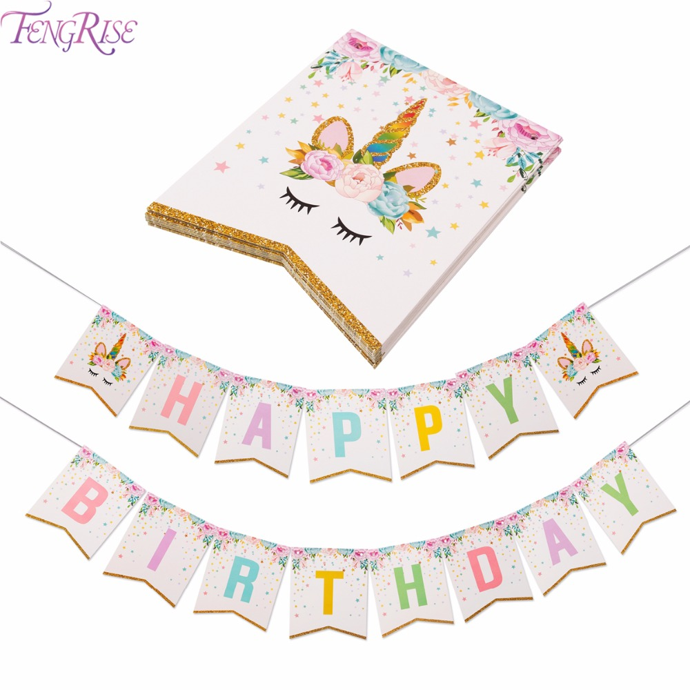 FENGRISE Unicorn Party Decoration Happy Birthday Banner Kids Favors Baby Shower Balloons Cake Topper Unicorn Birthday Supplies цена