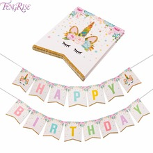 FENGRISE Unicorn Party Decoration Happy Birthday Banner Kids Favors Baby Shower Balloons Cake Topper Unicorn Birthday Supplies happy birthday banner baby shower balloons cake topper for wedding decor unicorn birthday party supplies