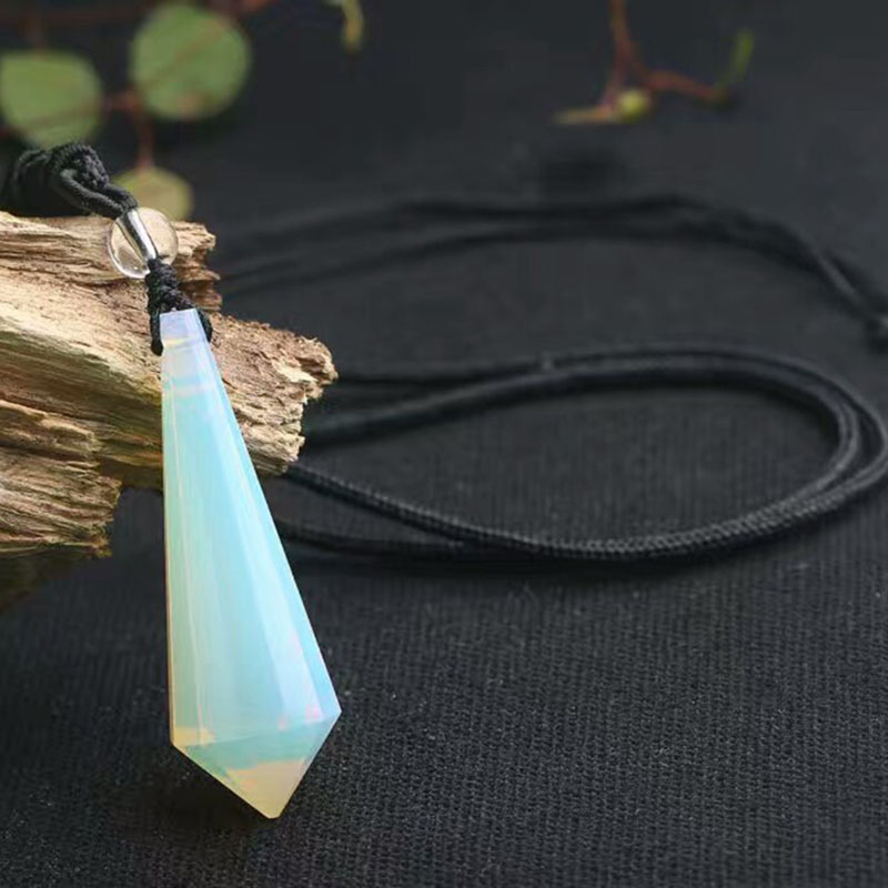 Energy Stone Protein Natural stone Single tip Faceted Water Drop Pendants Crystal Necklace Beauty Lucky for Women Men Fashion