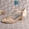 Wedopus MW538 женщин Шампанское Атласная Котенок Пятки Т-ремень Сандалии Партия Свадебные Сандалии