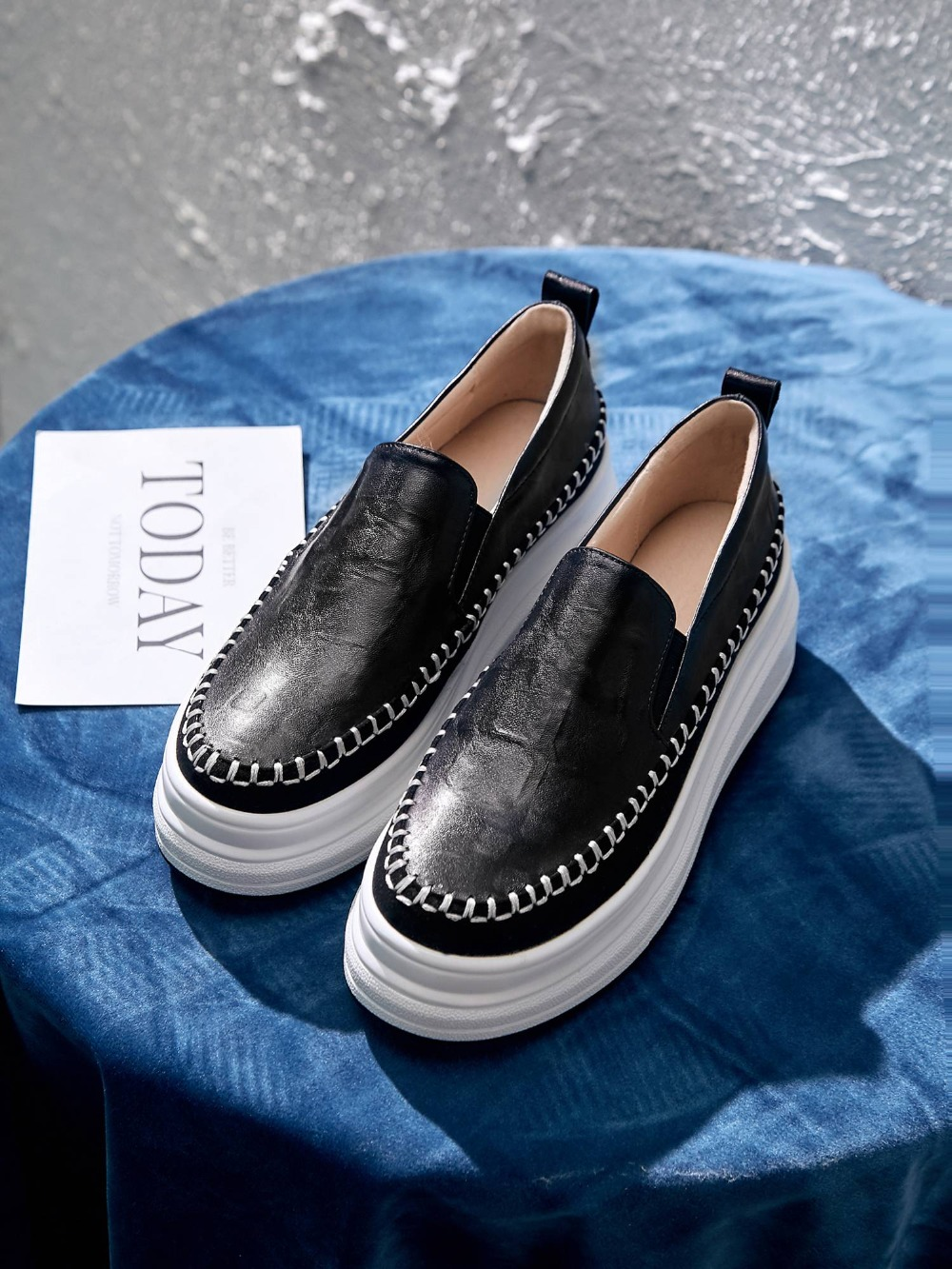 Krazing หม้อหรูหราแกะหนัง loafers toe toe ผสมสี British school ๆรองเท้า vulcanized รองเท้า L03-ใน รองเท้ายางวัลคาไนซ์สำหรับสตรี จาก รองเท้า บน   2