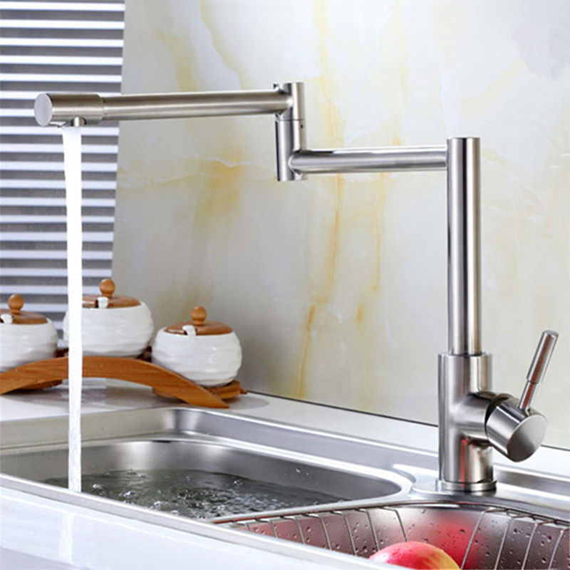JMKWS Deck Mounted Kitchen Faucet Single Handle Kitchen Faucets Folding Vessel Sink Mixer Stainless Steel Flexible Water Taps stainless steel material double kitchen sink strainer with flexible hose x19028