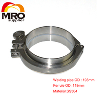 1 Set 108MM OD Sanitary Pipe Weld Ferrule + Tri Clamp + Silicone Gasket Stainless Steel SS304 SWT 108