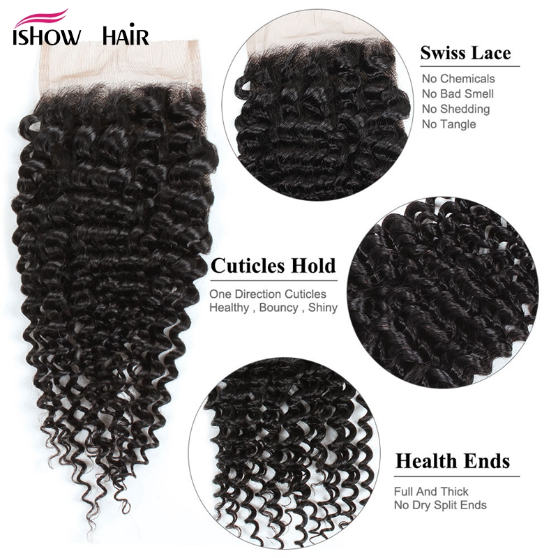 Ishow Mongolian Kinky Curly Lace Closure With Baby Hair 4*4  Non Remy Human Hair Closure Hand Tied 130% Density Free Shipping