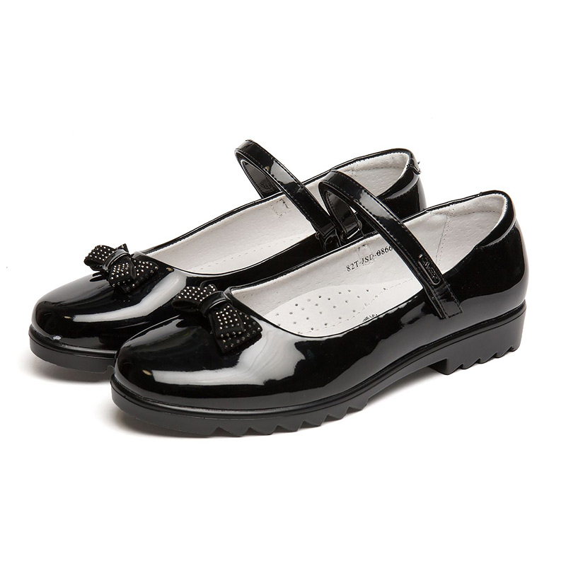 QWEST Low-heeled Hook&Loop Genuine Leather Insole Spring& Autumn Black Kids School shoes for Girl Size 32-37 82T-JSD-0866 beyarne women shoes fashion pointed toe slip on flat shoes woman comfortable single casual flats spring autumn size 35 41 zapato