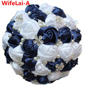 New Navy White DIY Handmade Beaded Brooch Silk Stitch Bridal Bouquet Bridesmaid Europe Us Artificial Flower Wedding Bouquet W224