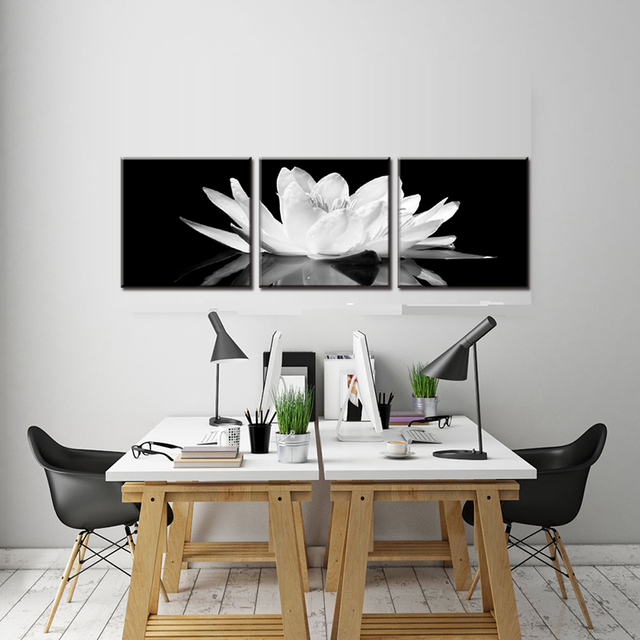 3 pcs set framed white lotus in black wall art simple black and white flower