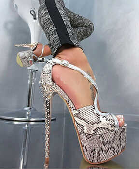 Sexy New Design Open Toe Snake Leather High Platform Spike Sandals Strap Cross Rivet High Heel Sandals Formal Dress Shoes - DISCOUNT ITEM  33% OFF All Category