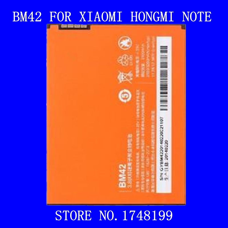 New Arrival Hot Selling 2Pcs/Pack BM42 Battery 3100mah for XIAOMI HONGMI NOTE Mobile Phone Accessory High Quality