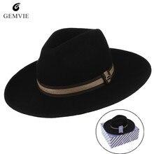 2e26b388caff5 Europe Style Men Fedoras Hats Jazz Cap Retro Solid Color Wide Brim 100%Wool  Felt