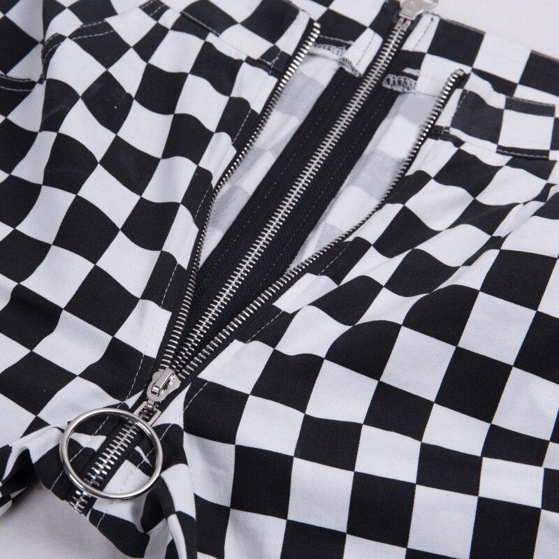 InstaHot Plaid Zipper Checkered Straight Pants Women Fashion Casual Slim Pockets Long Pants Black White Pencil Pantalon Femme 25