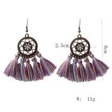 New Ethnic Bohemian Drop Dangle Long Rope Fringes Retro Tassel Earrings Red Sector Earrings for Women Party Jewelry