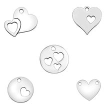 Skyrim Double Heart Charm Hollow Pendant DIY Necklace and Bracelet Jewelry Making Concise Style Polished(China)