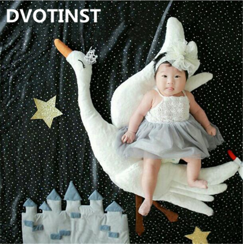 Dvotinst Newborn Baby Photography Props Flying Swan Theme Background Fotografia Accessories Infant Studio Shooting Photo Props shengyongbao 300cm 200cm vinyl custom photography backdrops brick wall theme photo studio props photography background brw 12